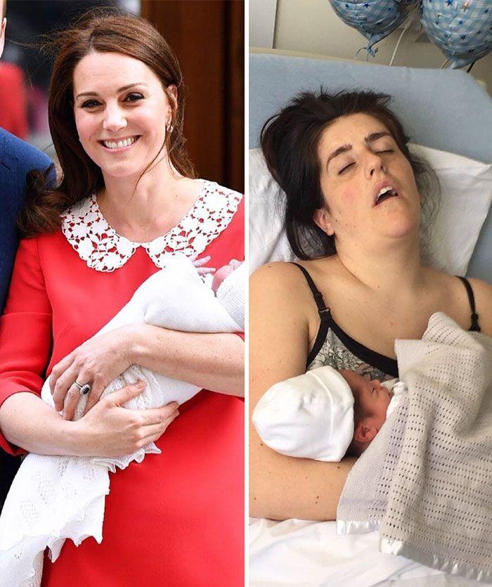 Пародии дня: женщины высмеяли идеальный вид Кейт Миддлтон после родов - фото 381675