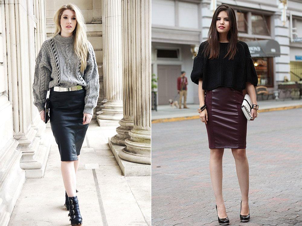 Модний street style 2018  з чим носити шкіряну спідницю у цьому ... 9375a99778e06