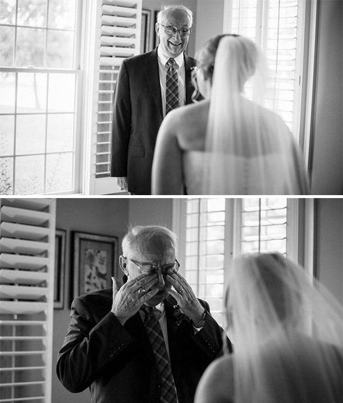 Как мило: эмоциональные фото, на которых отцы впервые видят дочерей в свадебных платьях - фото 390014
