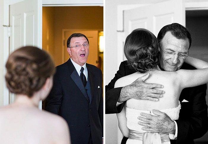 Как мило: эмоциональные фото, на которых отцы впервые видят дочерей в свадебных платьях - фото 390010